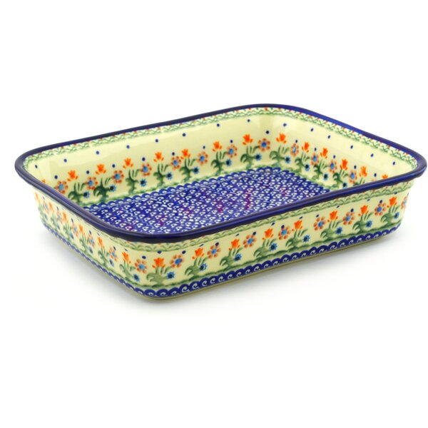 Spring Flowers Rectangular Non-Stick Polish Pottery Baker by Polmedia