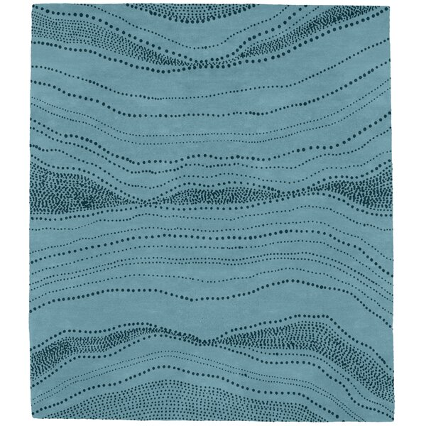 Elysant Point Art Hand-Tufted Wool Blue Area Rug