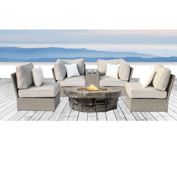Winsford 6 Piece Rattan Sofa Seating Group with Cushions by Rosecliff Heights