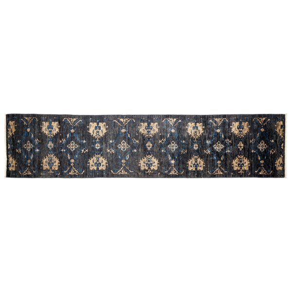 One-of-a-Kind Eclectic Hand-Knotted Black Area Rug by Darya Rugs