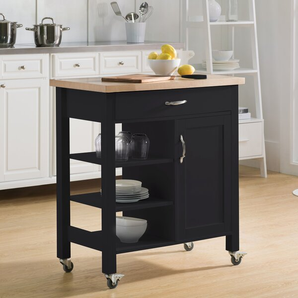 Elnora Kitchen Cart with Solid Wood Top by August Grove