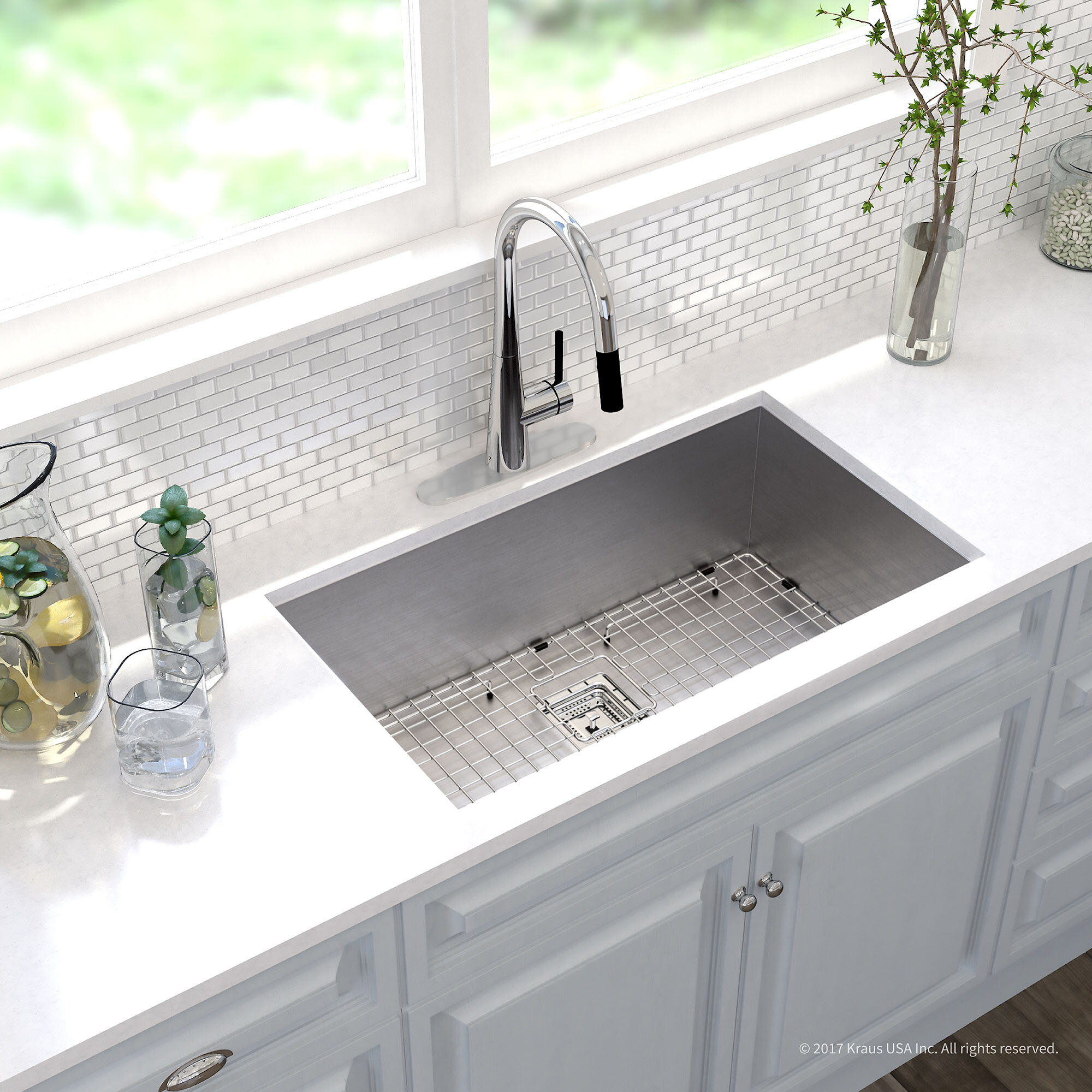 kitchen sinks au kraus pax 31 quot x 18 quot undermount kitchen sink with drain 2979