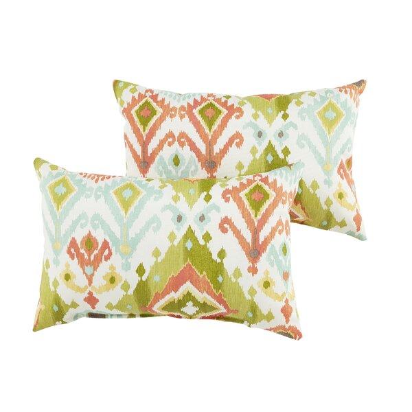 Fealty Green Ikat Indoor/Outdoor Lumbar Pillow (Set of 2) by World Menagerie