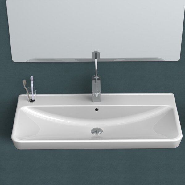 Belo Ceramic Rectangular Drop-In Bathroom Sink with Overflow by CeraStyle by Nameeks