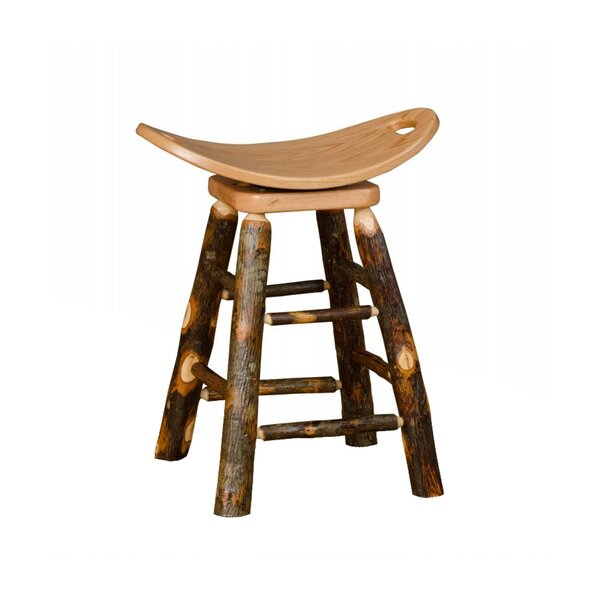 Orrie Hickory Swivel Saddle Bar & Counter Stool By Millwood Pines