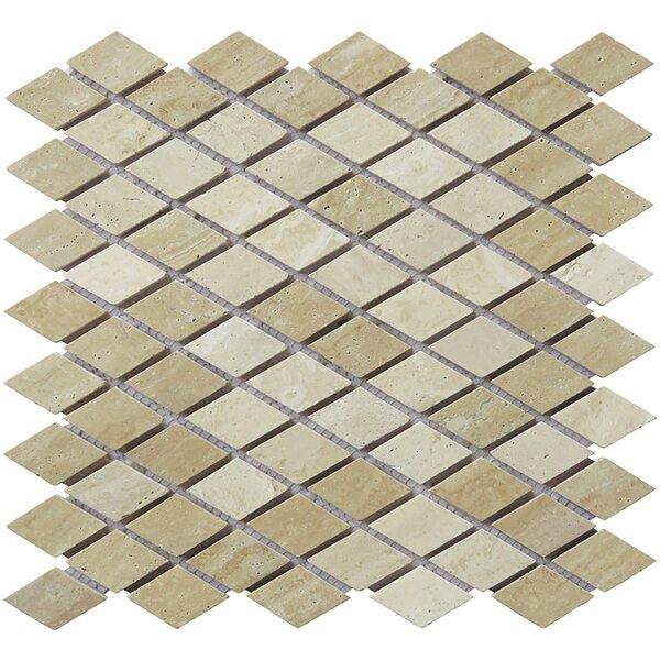 12 x 12.5 Travertine Natural Stone Diamond Mosaic Tile in Tan by Intrend Tile