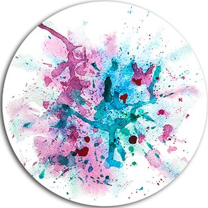 'Blue and Purple Paint Stain' Painting Print on Metal by Design Art