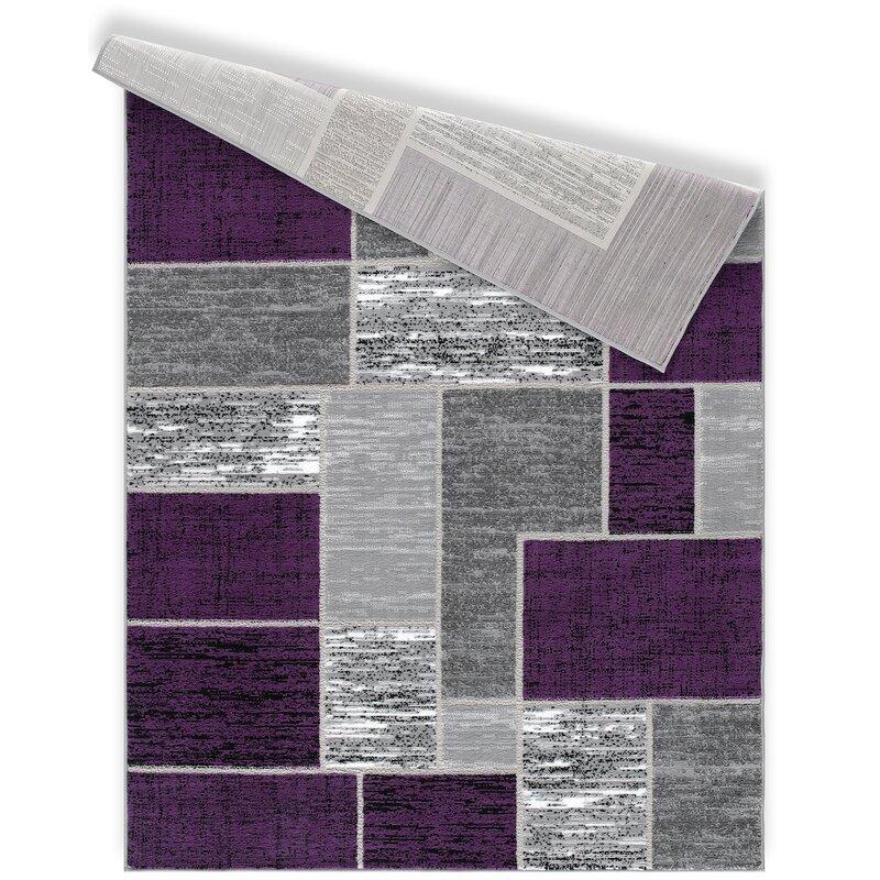 Ebern Designs Balderston Verena Geometric Purple Area Rug