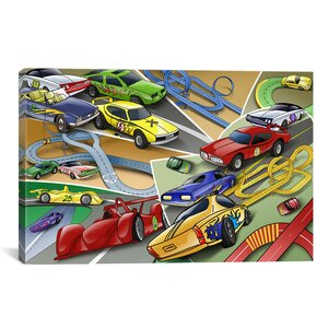 Kids Children Cartoon Racing Cars Canvas Wall Art by iCanvas