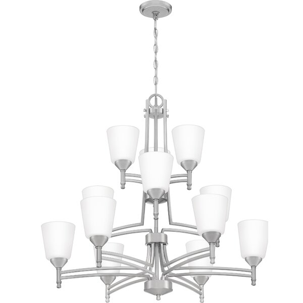 Chillon 12 - Light Shaded Tiered Chandelier By Ebern Designs