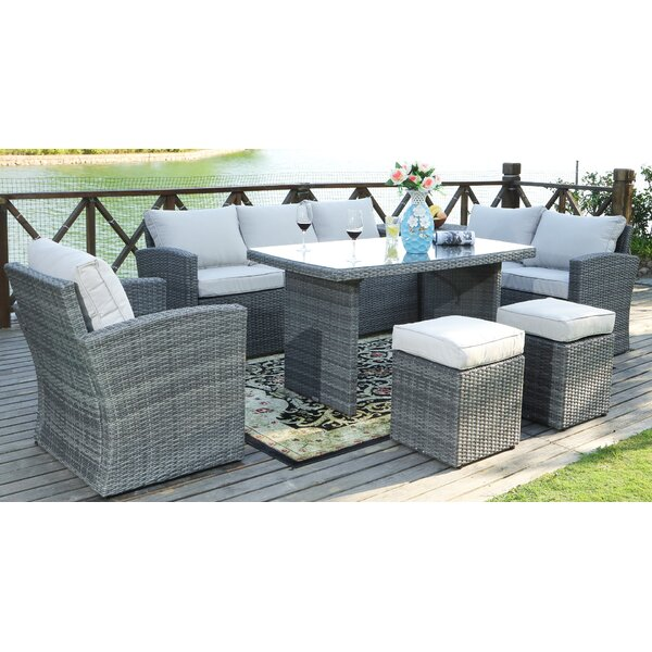 Messinger 7 Piece Rattan Sectional Seating Group with Cushions by Latitude Run