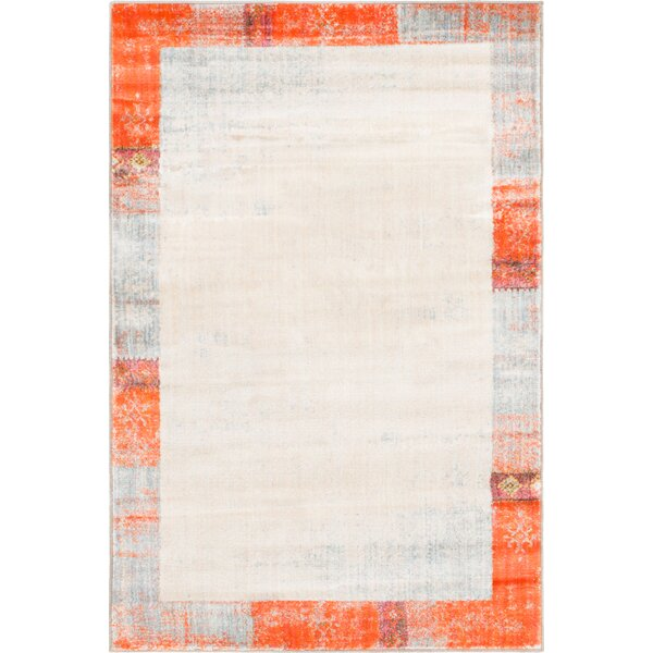Courtyard Orange Area Rug by World Menagerie