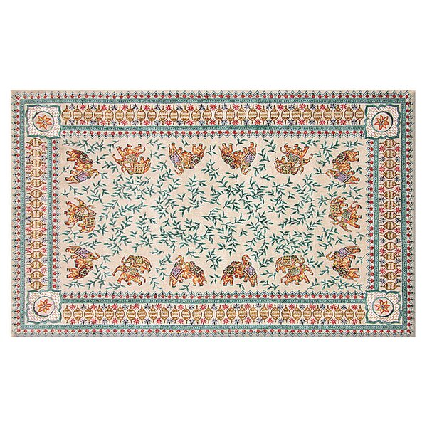 Jolene Hand-Woven Cream/Blue Area Rug by Threadbind