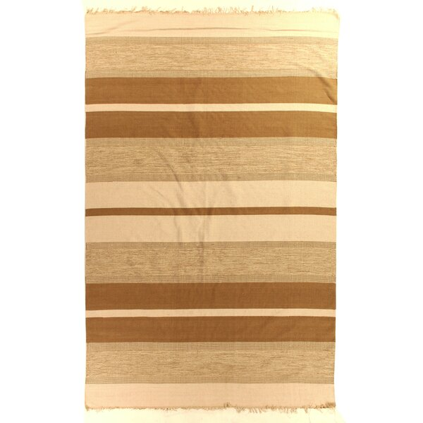 Soft Flat Weave Cotton Brown Area Rug by Exquisite Rugs