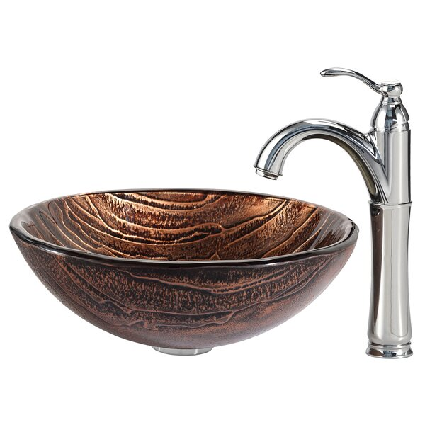 Gaia Glass Circular Vessel Bathroom Sink with Faucet by Kraus