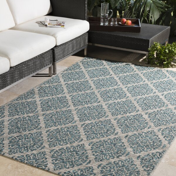 Fonwhary Aqua Indoor/Outdoor Area Rug by Bungalow Rose