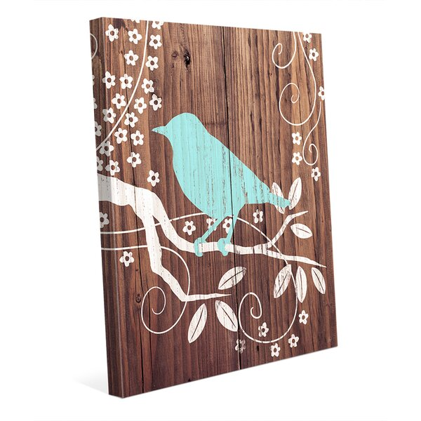 Perching Bird Turquoise Painting Print on Wrapped Canvas by Click Wall Art