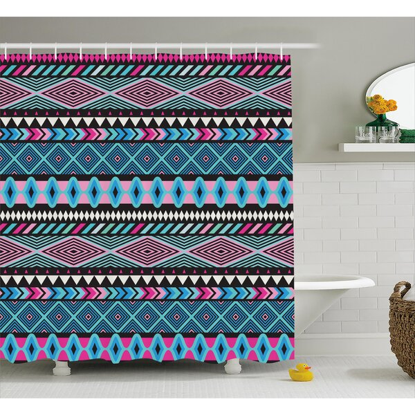 Kelli Tribal Vector Vintage Ethnic With Boho Stripes and Shape Image Print Shower Curtain by Ebern Designs