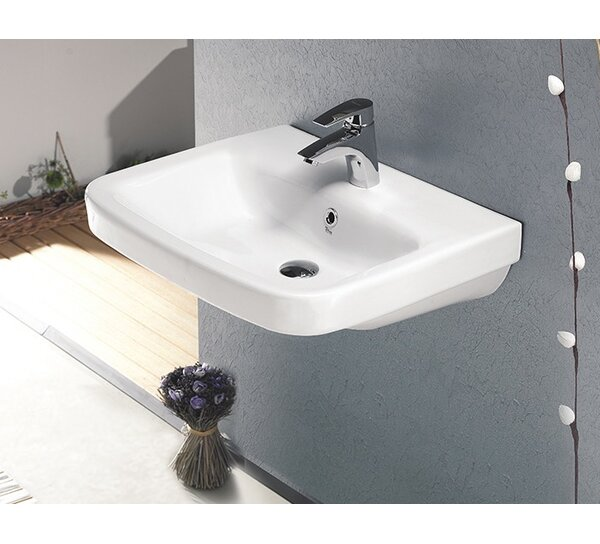 Noura Plus Ceramic Rectangular Drop-In Bathroom Sink with Overflow by CeraStyle by Nameeks