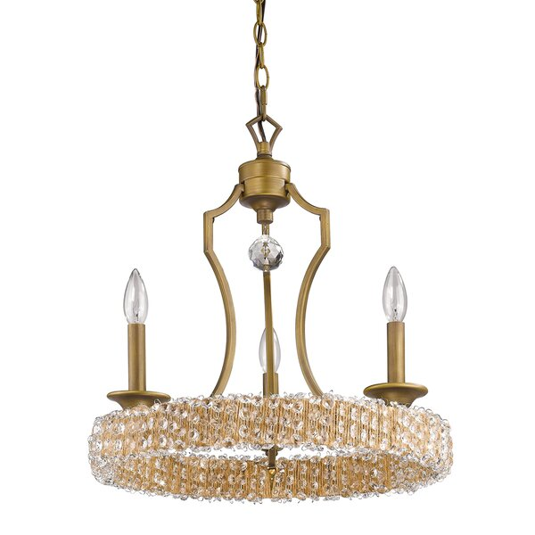 Saffold 3 - Light Candle Style Wagon Wheel Chandelier with Crystal Accents by House of Hampton House of Hampton