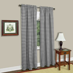 Haylee Plaid & Check Sheer Rod Pocket Single Curtain Panel