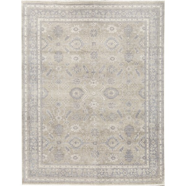 Oriental Hand-Knotted Silver/Blue Area Rug