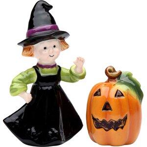 Town Pumpkin and Witch 2 Piece Salt and Pepper Set