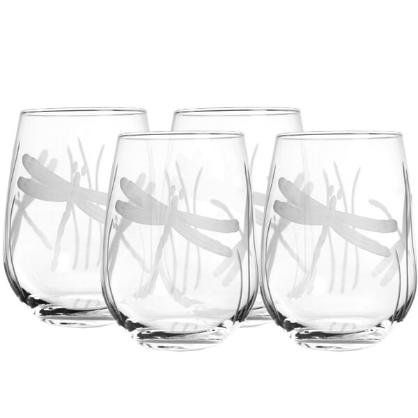 Dragonfly 17 Oz. Stemless Wine Glass (Set of 4) by Rolf Glass