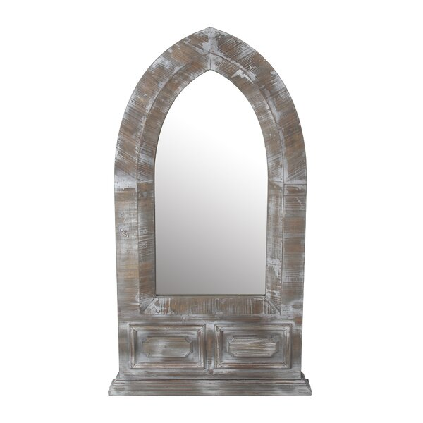 Lancelot Distressed Wood Dome Accent Mirror by Millwood Pines