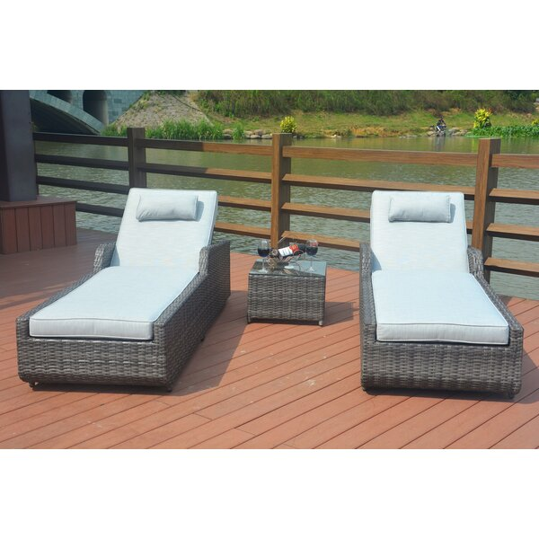 Maurer 3 Piece Sun Lounger Set With Cushions By Rosecliff Heights