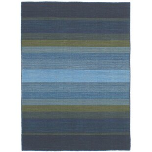 One-of-a-Kind Sanger Handwoven Flatweave 4'7 x 6'5 Wool Sky Blue/Gray/Dark Green Area Rug by World Menagerie