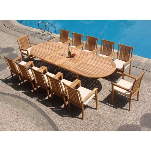 Majeic Luxurious 13 Piece Teak Dining Set by Rosecliff Heights