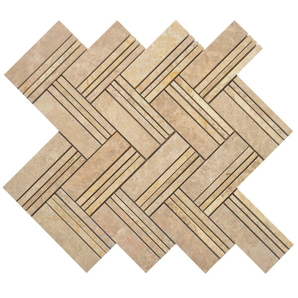 Quilt Mike Random Sized Marble Mosaic Tile in Yellow by Matrix Stone USA
