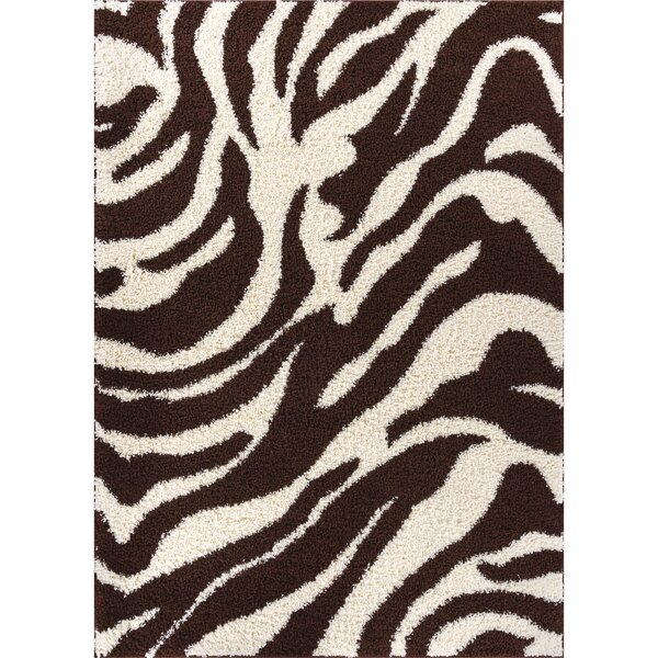 Madison Shag Brown Safari Area Rug by Well Woven
