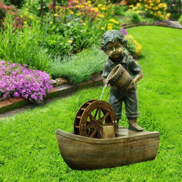 Polystone Boy with Bucket Boat Fountain by Alpine