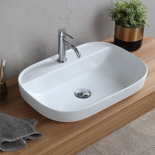 Read Reviews Oval Ceramic Drop In Bathroom Sink with Overflow By Scarabeo by Nameeks
