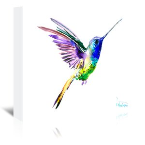 Hummingbird Flying Painting Print on Wrapped Canvas by East Urban Home