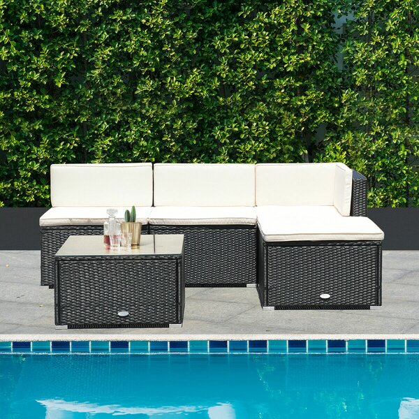 Brecon 5 Piece Rattan Sectional Seating Group with Cushions by Ebern Designs