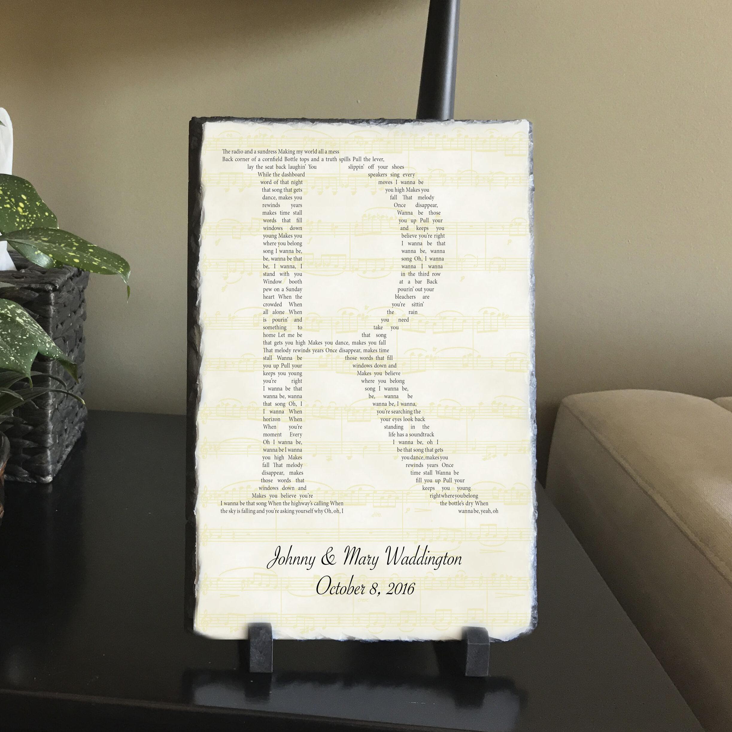 SassySquirrelInk Initialed Lyrics Plaque Decorative Slate | Wayfair