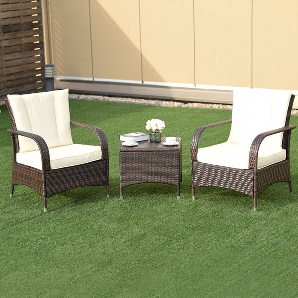 Bort Outdoor 3 Piece Rattan Seating Group with Cushions by Latitude Run