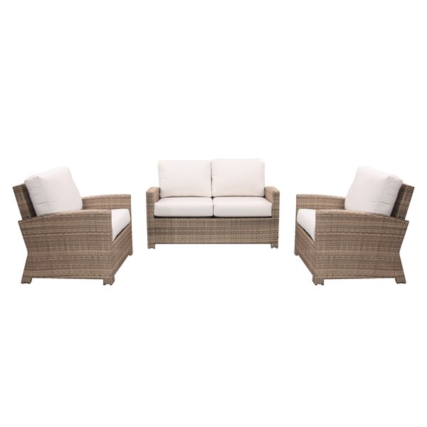 Norfolk 3 Piece Sunbrella Seating Group with Cushions by Rosecliff Heights
