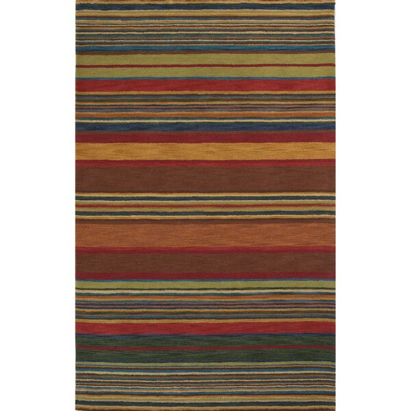 Degennaro Stripes Hand-Tufted Red Indoor Area Rug by Latitude Run