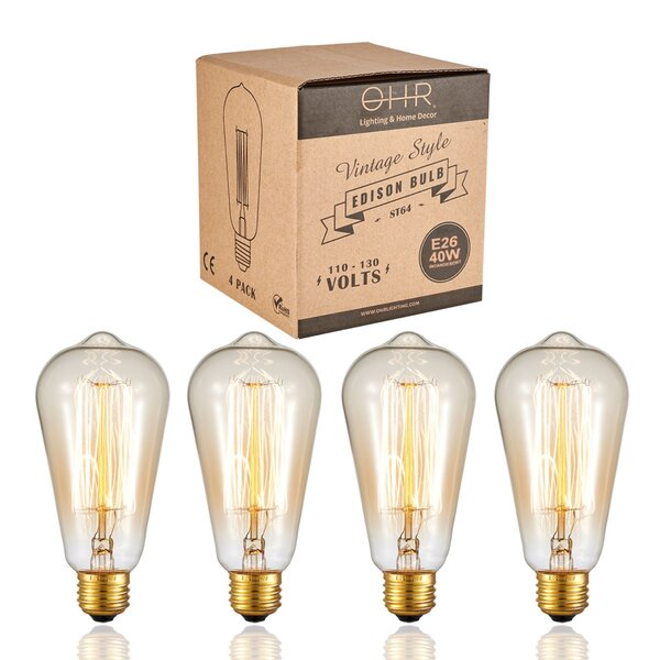 60W E26 Dimmable Incandescent Edison Light Bulb (Set of 2) by OHR Lighting