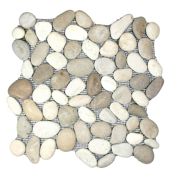Zambezi Random Sized Natural Stone Mosaic Tile in Java Tan/White by CNK Tile