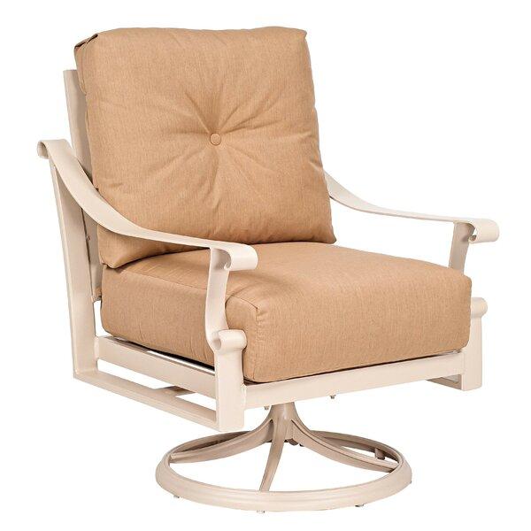 Bungalow Cushion Swivel Rocking Dining Chair by Woodard