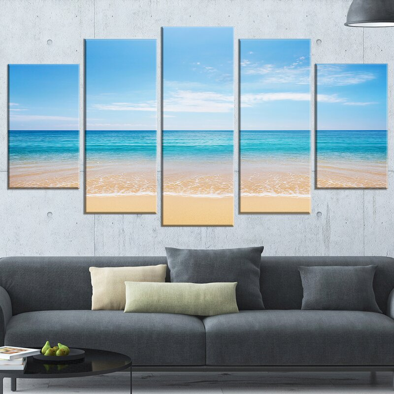 DesignArt \'Wide Blue Sky Over Beach\' 5 Piece Wall Art on Wrapped ...
