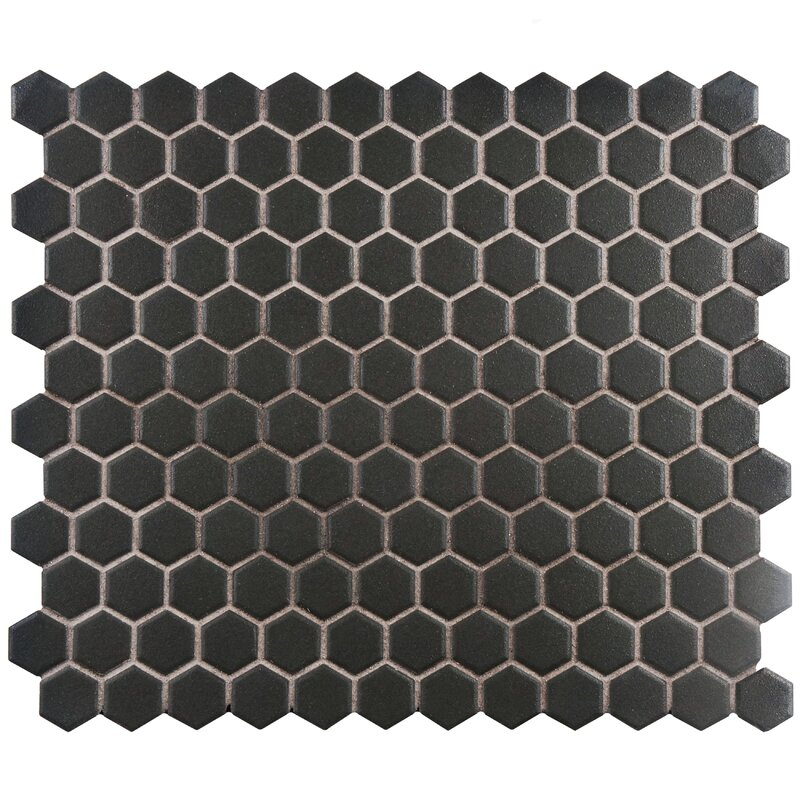 "Vintage style Hexagon 10.25"" x 12"" Porcelain Unglazed Mosaic Tile in Antique Black"