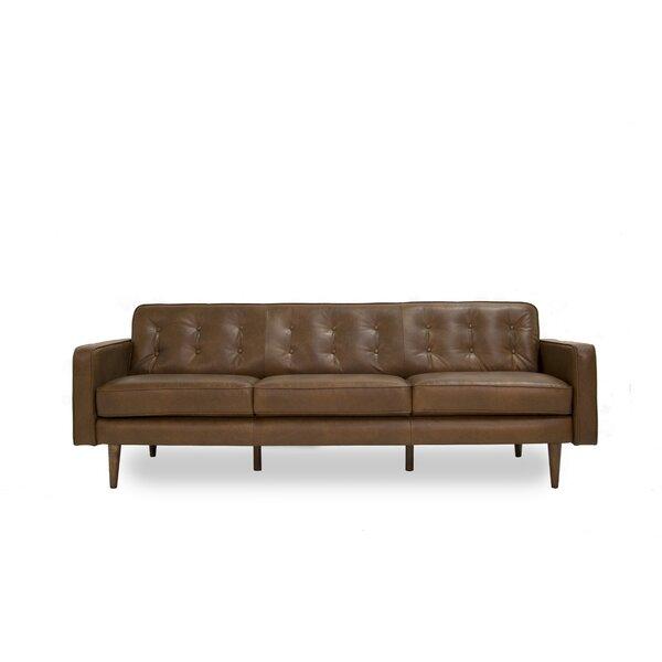 Trevor Mid Century Modern Leather Sofa by Corrigan Studio