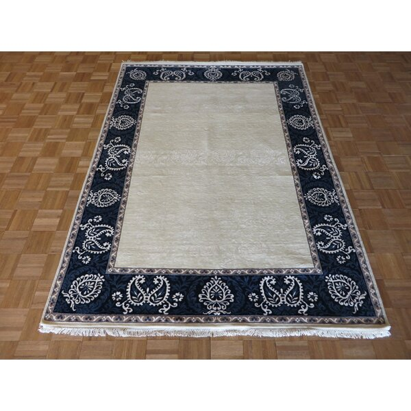 One-of-a-Kind Rhyne Hand-Knotted Wool Ivory/Blue Area Rug by Astoria Grand