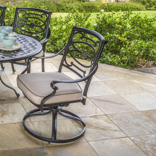 Croydon Swivel Patio Dining Chair with Cushion (Set of 2) by Darby Home Co